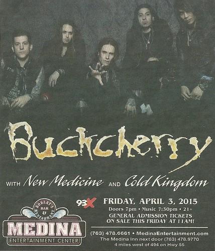 04/03/15 Buckcherry/ New Medicine/ Cold Kingdom @ Medina Entertainment Center, Medina, MN