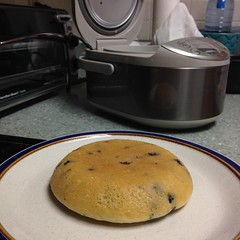 Blueberry pancake made in rice cooker