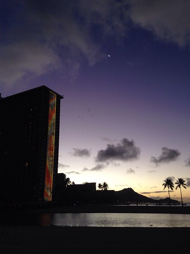 Morning Moon and Hilton Rainbow Tower Meet