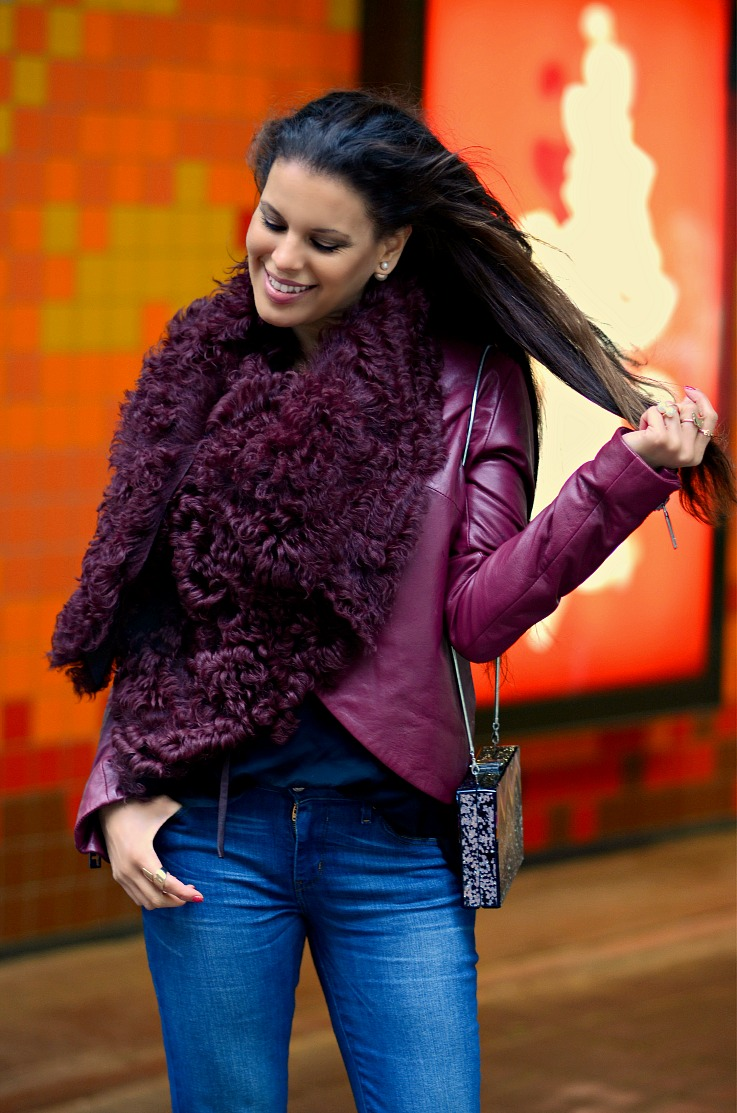 DSC_9026 Tony Cohen jacket, Mise En Dior Earrings, Tamara Chloé, Burgundy Leather Jacket