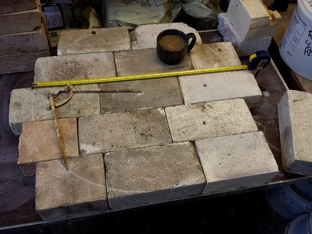 Laying out the bricks.