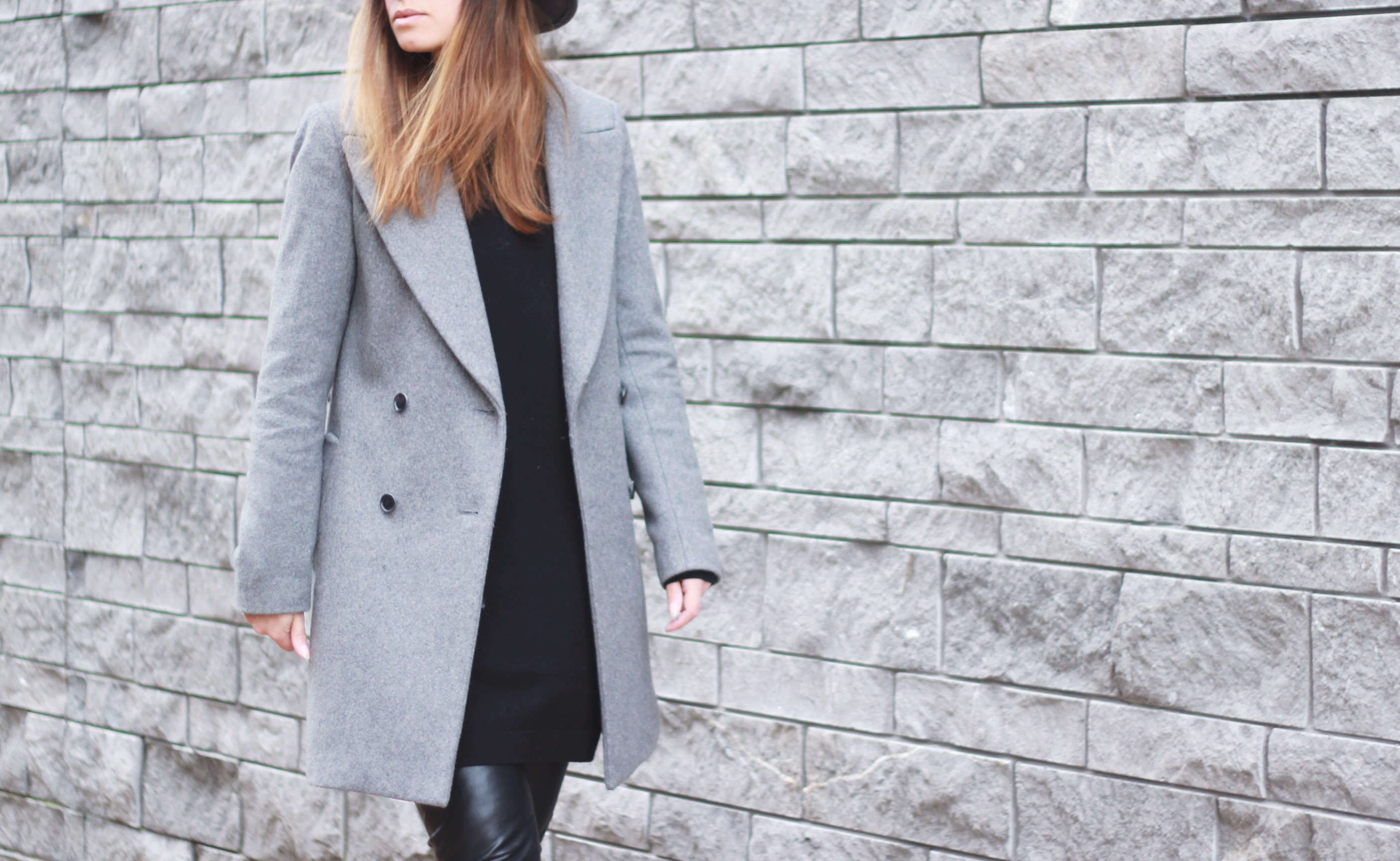 Grey coat, leather trousers, inspiration, street style