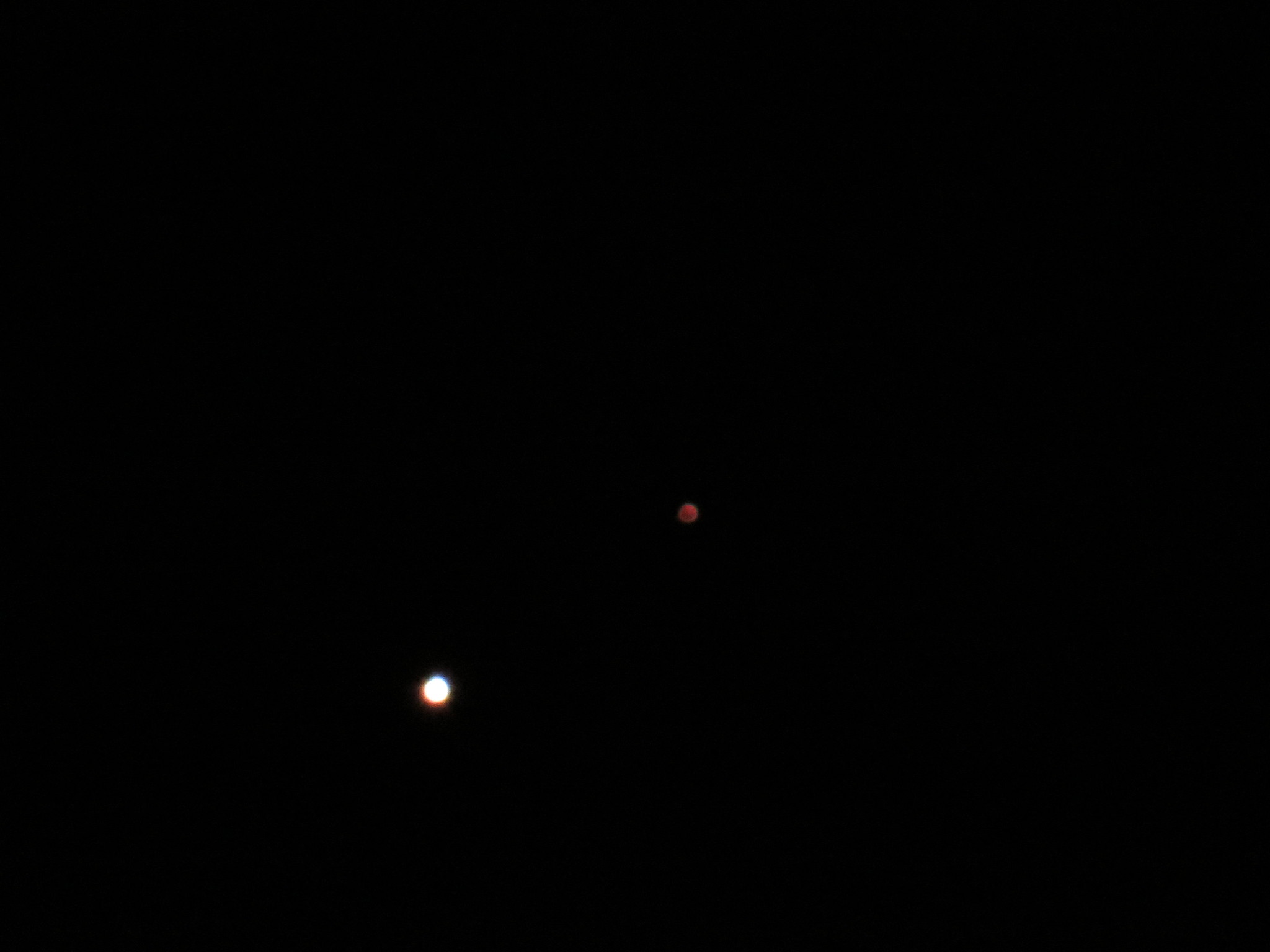 Venus with Mars up and right