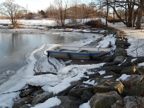 winter sea snow cold tree ice rock finland island boat helsinki