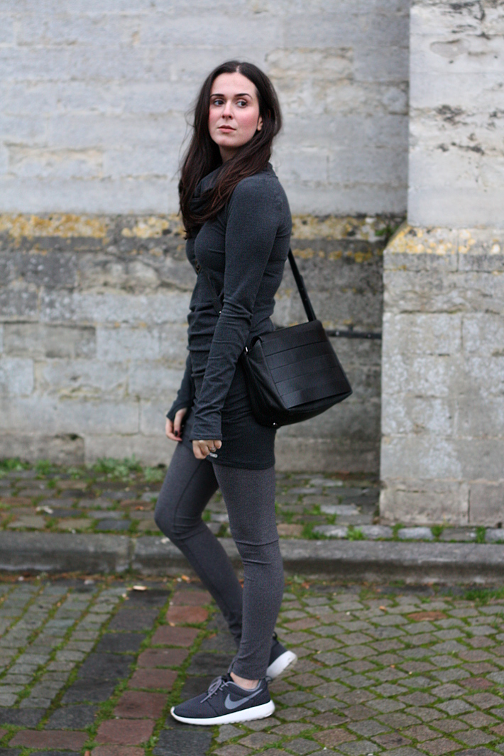 feminine casual outfit: bench sweater dress, leggings, nike roshe runs
