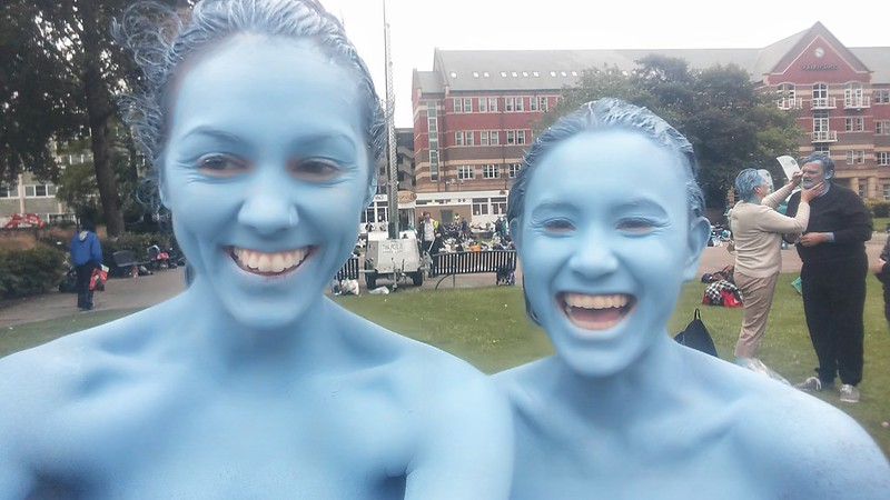 Painted blue at Spencer Tunick's #SeaOfHull