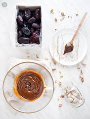 Fresh dates stuffed with sweet cream, made with sy…