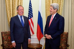 U.S. Secretary of State John Kerry shares a laugh with Russian Foreign Minister Sergey Lavrov in Vienna, Austria, on November 23, 2014, before the two begin a bilateral meeting amid broader negotiations about the future of Iran's nuclear program. [State Department photo/ Public Domain]
