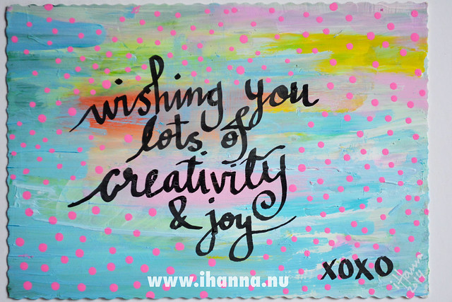 DIY Postcard: Wishing you lots of Creativity made by iHanna, of www.ihanna.nu - Copyright Hanna Andersson