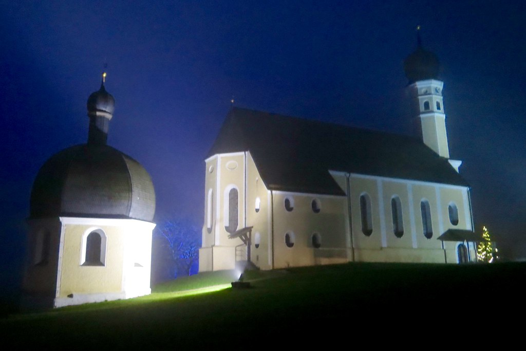 Upper Bavaria after sunset: the pilgrimage church St. Marinus and Anian....