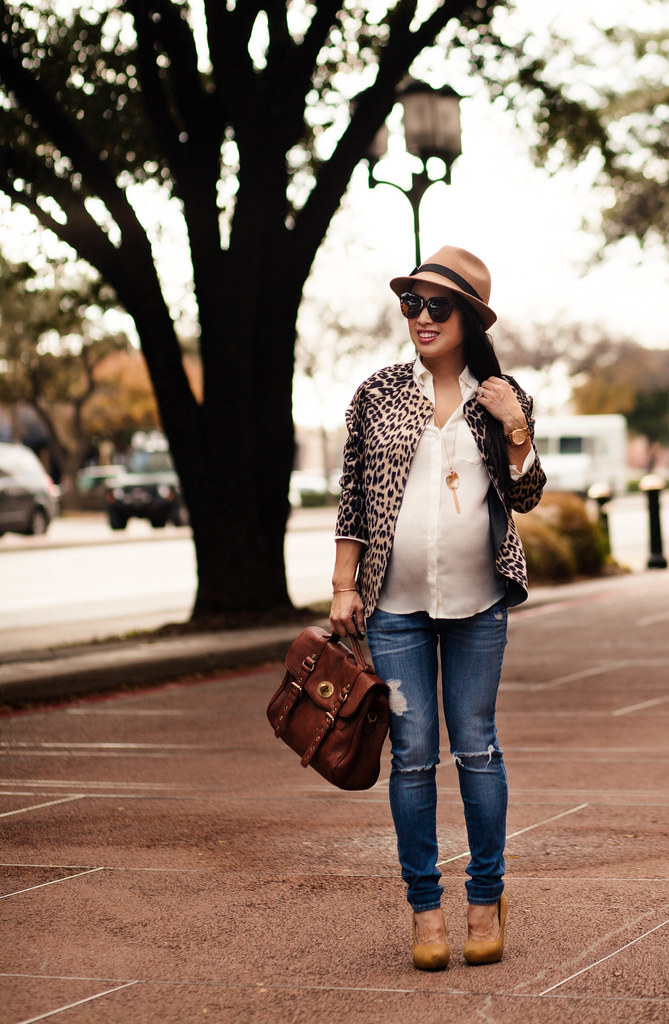 cute & little blog | petite fashion | maternity bumpstyle third trimester 33 weeks | leopard blazer, white button down shirt, ag distressed skinny jeans maternity, nordstrom trilby felt hat | fall outfit layering