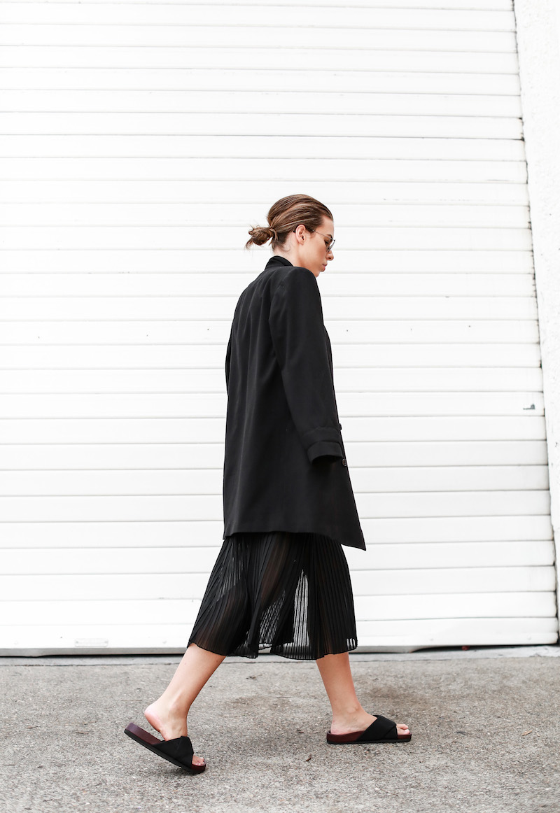 MODERN LEGACY Celine slide sandals all black street style pleated sheer split skirt Bassike tank fashion blog Australia (4 of 13)