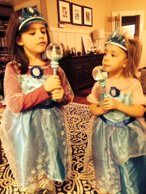 santa brought the girls elsa dresses with crowns & scepters.