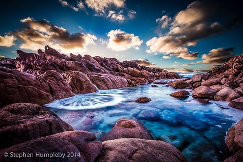 ocean sunset southwest water composite river rocks margaret wa westernaustralia notreal xmasholidays canon6d wyaduprocks ©stephenhumpleby2015