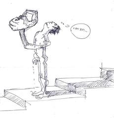 hombre en escaleras