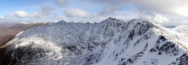 The Saddle at the head of Coire Uaine from the summit of Spidean Dhomhuill Bhric