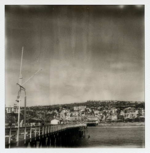 """ocean california county ca wood toby bw orange white black film silver project walking point landscape polaroid sx70 1 pier wooden cool model san cityscape pacific tip workshop shade hancock expired vanishing impossible clemente the px100 tobyhancock impossaroid px100cool 2015"""" fppwalkingworkshop2015 """"fpp"""