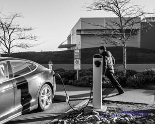 02 - Black & White of a Tesla Model S Electric Vehicle Charging at the Future of Flight