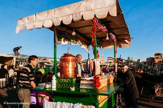 Food stalls in Djemaa el Fna square, Marrakech, Morocco.