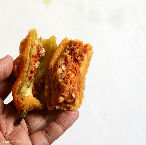 Stuffed mirchi bajji recipe-Andhra