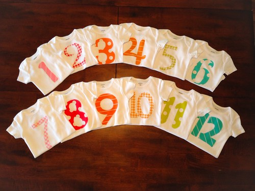 Monthly Milestone Onesies using Textured Basics fabric by Patty Young for Michael Miller Fabrics.
