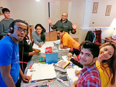 Amit Patel (at rear) works with Charlotte, North Carolina, youths training to animate junior youth groups. Photo courtesy of Rebecca Soular-Patel