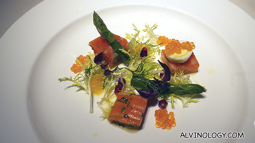 Marinated Scottish salmon, quail eggs and green asparagus, Avruga caviar
