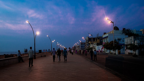 beach earlymorning promenade pondicherry colourfullights