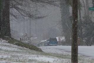 Snow falling in Marietta, Georgia, this morning