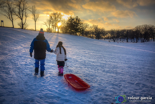 sunset snow cold sledding sled camille
