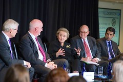 Former Secretary of State Madeleine Albright, Special Representative for Religion and Global Affairs Shaun Casey, Special Envoy to Monitor and Combat Anti-Semitism Ira Forman, and Special Representative to Muslim Communities Shaarik Zafar participate in a panel on the Future of Religion and Politics with Charles C. Haynes, director of the Religious Freedom Center, at the Newseum in Washington, D.C., on March 3, 2015. [Photo by Maria Bryk]