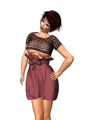 Immerschoen-BodyCult MESH HighWaist Skirt Set Melodie marsala.