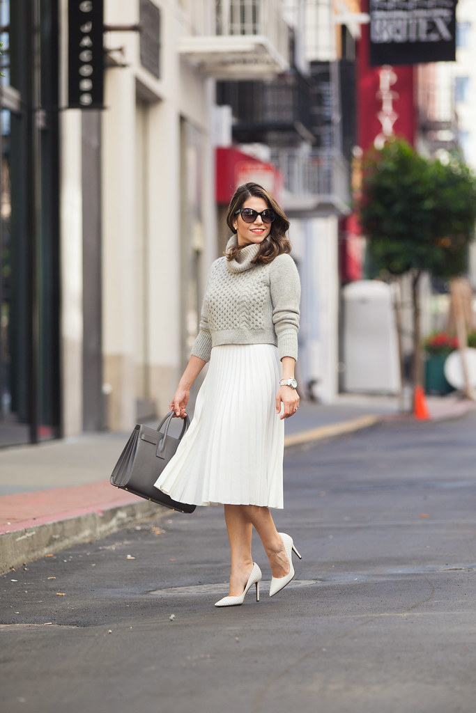 club monaco sweater what to wear to work spring white skirt accordian skirt dvf pumps prada sunglasses fashion blogger sweater cropped sweater corporate catwalk what to wear to work cute sprint outfits red lipstick zara skirt jcrew outfit post nyc blogger saint laurent sac de jour grey bag desginer bag