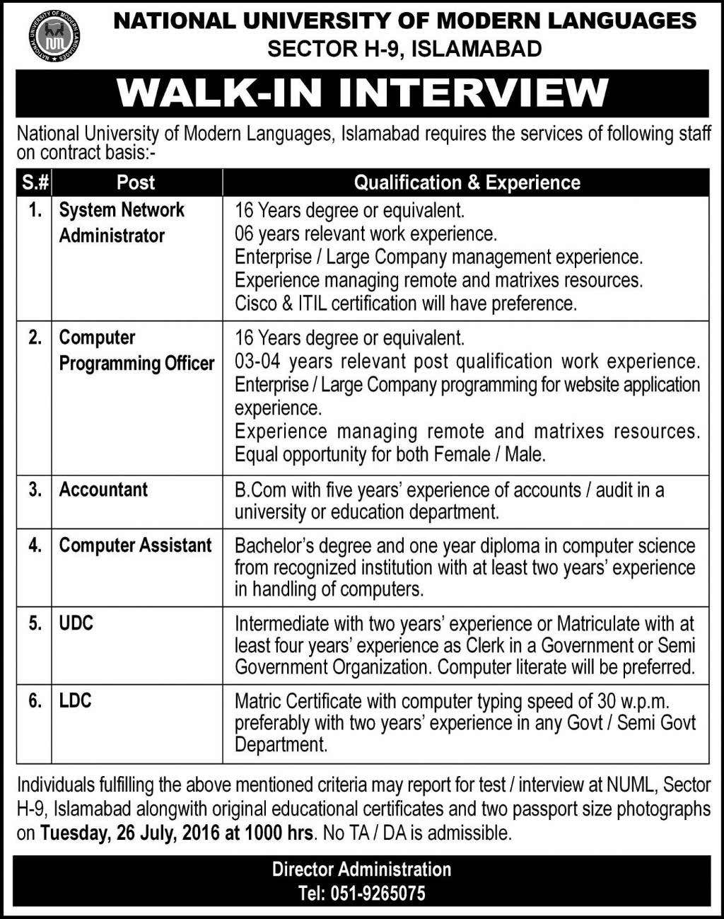 National University of Modern Languages Walk in Interview