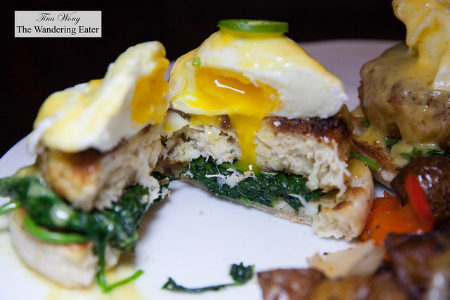 Cross section of Maryland lump crab cake with poached egg