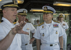 Adm. Jung Ho-Sub receives an explanation of USS Freedom (LCS 1) bridge operations from Cmdr. Michael R. Wohnhaas, the ship's commanding officer, as Vice Adm. Tom Rowden, commander of Naval Surface Forces, U.S. Pacific Fleet looks on. (U.S. Navy/MC2 Phil Ladouceur)