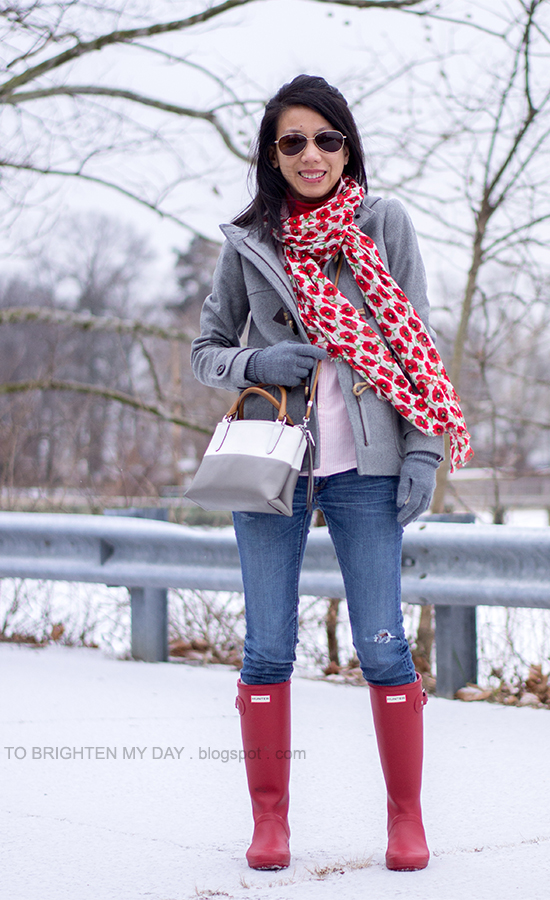 floral printed scarf, gray toggled coat, red turtleneck, pink striped shirt, colorblocked crossbody bag, red rain boots