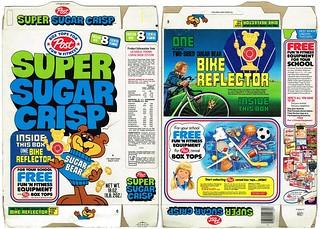 1977 Post Super Sugar Crisp Cereal Box Bike Reflector