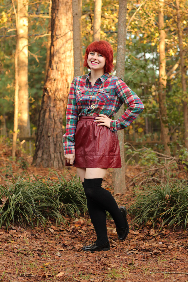 Flannel Button Down, Maroon Leather Skirt, Thigh High Socks, and Black Patent Loafers
