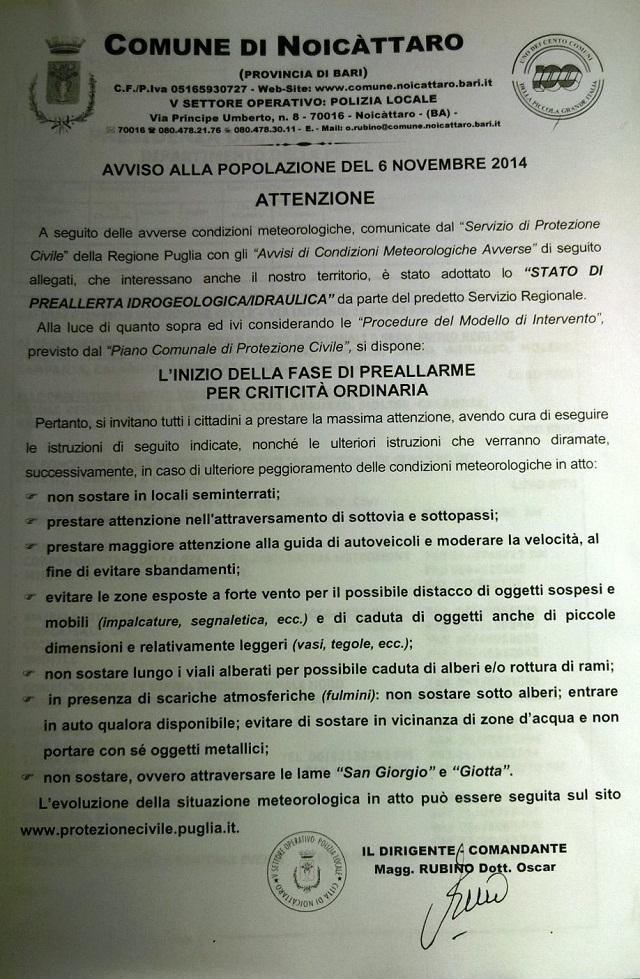 Noicattaro. Allerta Meteo 1
