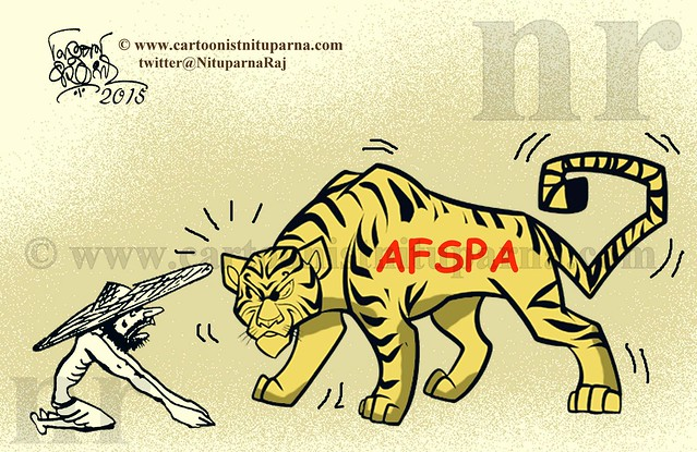 A caricature by Guwahati based cartoonist Nituparna Rajbonshi showing the effects of the AFSPA.