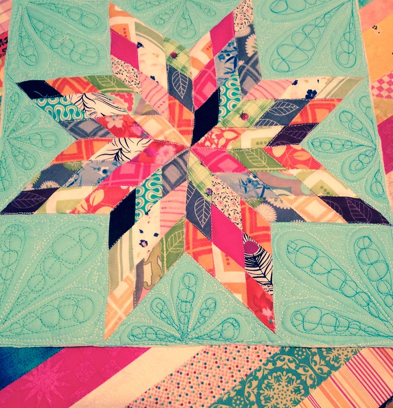 Quilted scrappy lone star