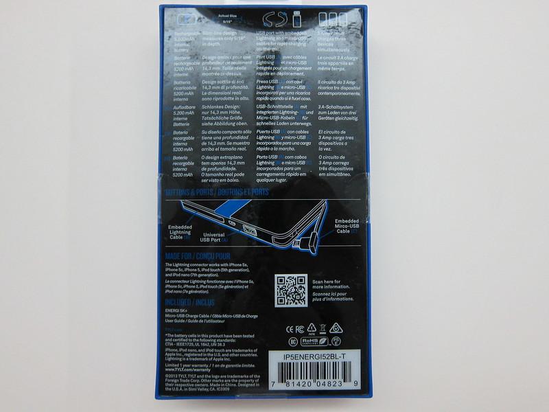 TYLT Energi 5k+ Battery Pack - Box Back