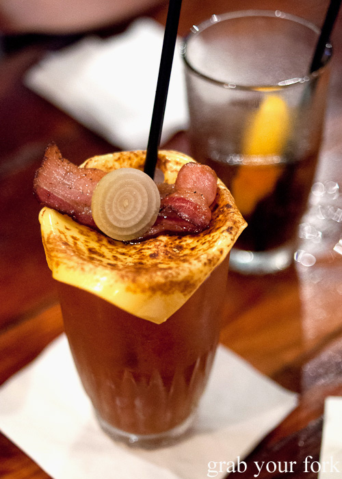 Bloody Mary with bacon and cheese at Mary's, Newtown