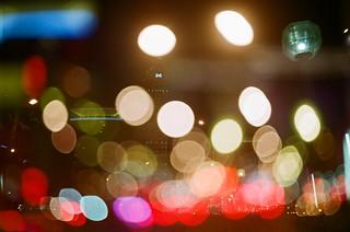 night scene of the city.double exposure