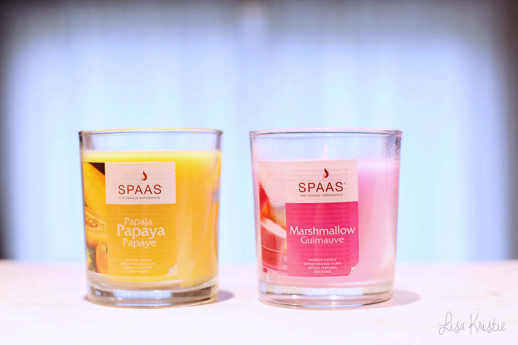 scented candles spaas yellow papaya pink marshmallow made in belgium belgian brand europe european product review smell perfume