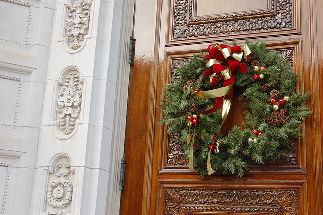 Christmas Wreath on the Mother Church of the Christian Science Center, Boston