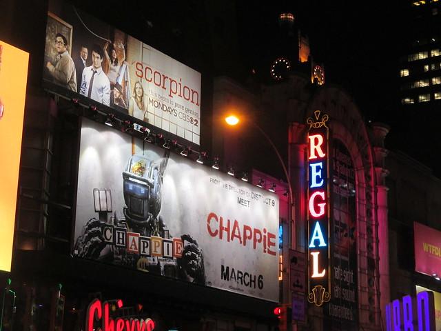Chappie Billboard movie poster near Regal Theater Robot 4250