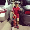 My little skater. New #vans shoes and hat, root beer and pizza to grub on. #happykiddo