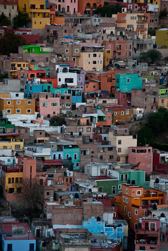 old city blue houses sunset urban streets colour america mexico town alley nikon view dusk south hill colonial central neighborhood spanish hour latin maze guanajuato hispanic